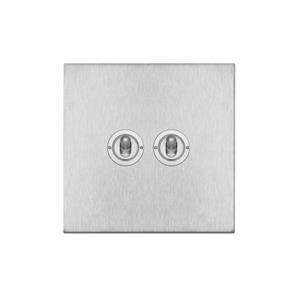 Dolly Switch 2 gang 20 amp intermediate Satin Stainless Steel