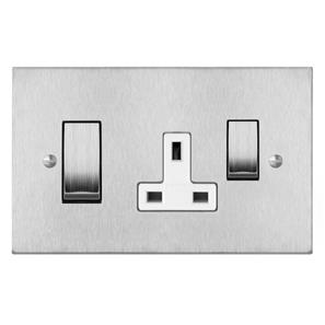 Cooker Switch 1 gang 45 amp cooker switch socket outlet Satin Stainless Steel