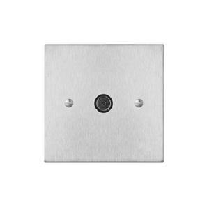 TV Socket 1 gang television co-axial Satin Stainless Steel