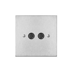 TV Socket 2 gang television co-axial Satin Stainless Steel