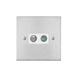 TV Socket 1 gang television and satellite socket Satin Stainless Steel