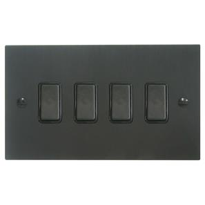 Rocker Switch 4 gang 10 amp 2 way Black Aluminium