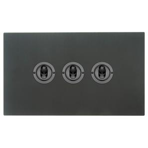 Dolly Switch 3 gang 2 way Black Aluminium