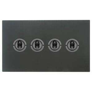 Dolly Switch 4 gang 2 way Black Aluminium
