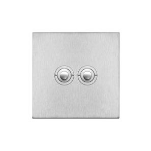 Push Button Switch 2 gang Satin Stainless Steel