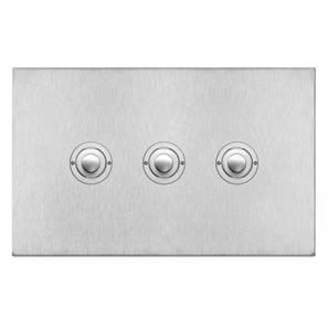 Push Button Switch 3 gang Satin Stainless Steel