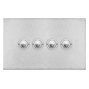 Push Button Switch 4 gang Satin Stainless Steel