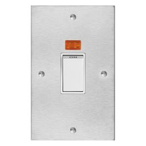Cooker Switch 1 gang 45 amp cooker switch with neon Satin Stainless Steel