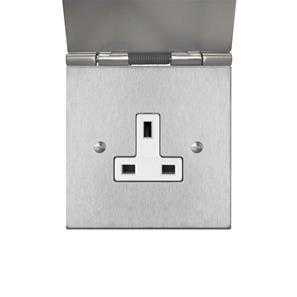 Floor Socket 1 gang 13 amp unswitched floor socket Satin Stainless Steel