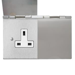 Floor Socket 2 gang 13 amp unswitched floor socket Satin stainless Steel