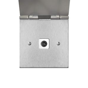 TV Socket 1 gang television co-axial floor Satin Stainless Steel