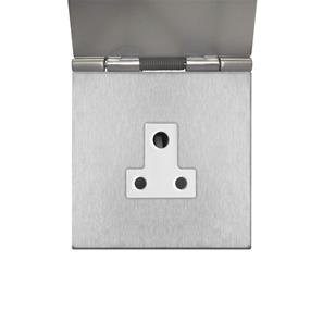 Floor Socket 1 gang 5 amp unswitched Satin Stainless Steel
