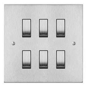 Rocker Switch 6 gang 20 amp 2 way (MK893) Satin Stainless Steel