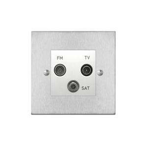 TV Socket 1 gang television, satellite and FM socket Satin Stainless Steel