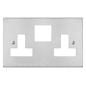 Switched Socket Outlet 2 gang 13 amp (plate only) Satin Stainless Steel