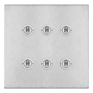 Dolly Switch 6 gang 20 amp 2 way (MK893) Satin Stainless Steel