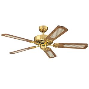 Monarch Ceiling Fan Satin Brass with Oak Cane/Mahogany Blades 1320mm