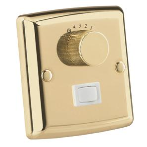 Ceiling Fan & Light Wall Control Switch Polished Brass