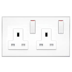 Complimentary Wall Socket White Frameless 2 Gang