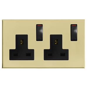 Complimentary Wall Socket Brass Frameless 2 Gang