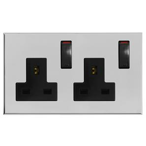Complimentary Wall Socket Chrome Frameless 2 Gang