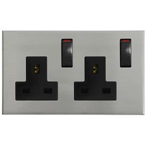 Complimentary Wall Socket Nickel Frameless 2 Gang