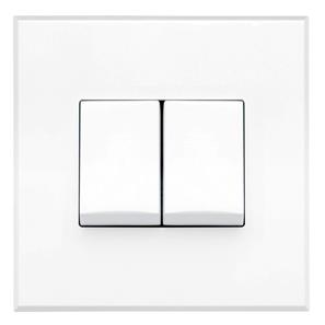 Complimentary Rocker Switch White Frameless 2 Gang 2 Way