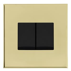 Complimentary Rocker Switch Brass Frameless 2 Gang 2 Way