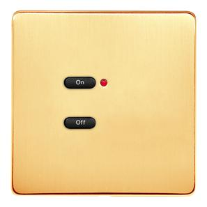 RAKO Wireless Wall Switch 2 Button Polished Brass Screwless