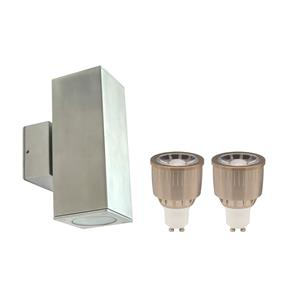 Happy Pillar Double Up & Down Wall Light Kit 240V 2 x 5W Marine 316 Stainless Steel