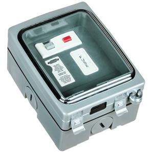 Weathersafe Vision Single Gang 13A RCD Fused Spur 1 Gang Grey