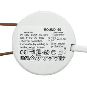 Round 60 Electronic Dimmable Transformer 12V 60W
