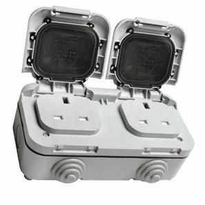 Outdoor Twin Gang Socket 2 Gang Grey