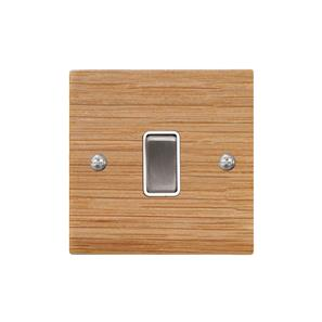 Rocker Switch 1 gang 20 amp double pole Oak