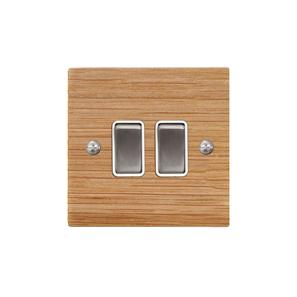 Rocker Switch 2 gang 10 amp 2 way Oak