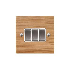 Rocker Switch 3 gang 10 amp 2 way Oak