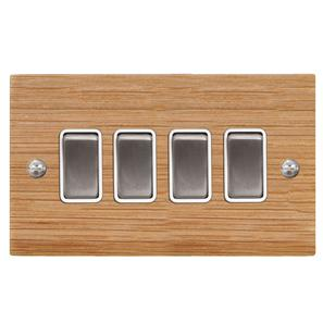 Rocker Switch 4 gang 10 amp 2 way Oak