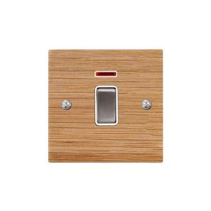 Rocker Switch 1 gang 20 amp double pole neon Oak