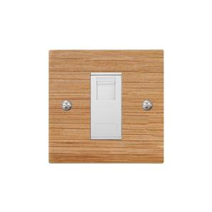 Communications Socket 1 gang RJ45 cat 5 socket Oak