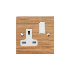 Wall Socket 1 gang 13 amp switch socket outlet Oak