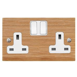 Wall Socket 2 gang 13 amp switch socket outlet Oak