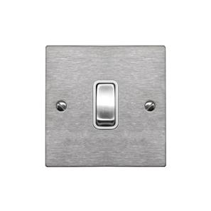 Rocker Switch 1 gang 20 amp double pole Satin Stainless