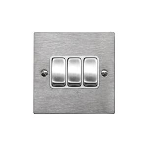 Rocker Switch 3 gang 10 amp 2 way Satin Stainless