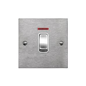 Rocker Switch 1 gang 20 amp double pole neon Satin Stainless