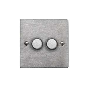 Dimmer Switch 2 gang 250 watt 2 way Satin Stainless
