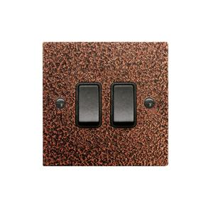 Rocker Switch 2 gang 10 amp 2 way Copper