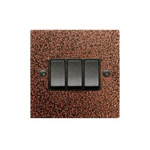 Rocker Switch 3 gang 10 amp 2 way Copper