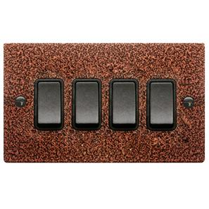 Rocker Switch 4 gang 10 amp 2 way Copper