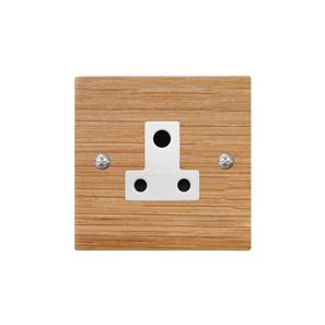 Light Socket 1 gang 5 amp unswitched socket outlet Oak