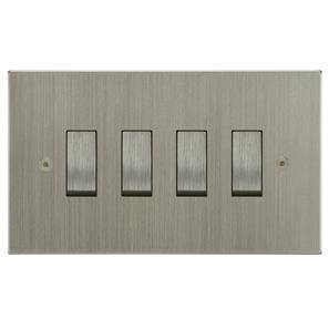 Rocker Switch 4 gang 10 amp 2 way Satin Nickel